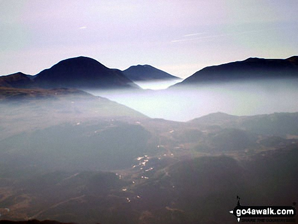 Great Gable, Scafell Pike (centre) and Kirk Fell from Fleetwith Pike