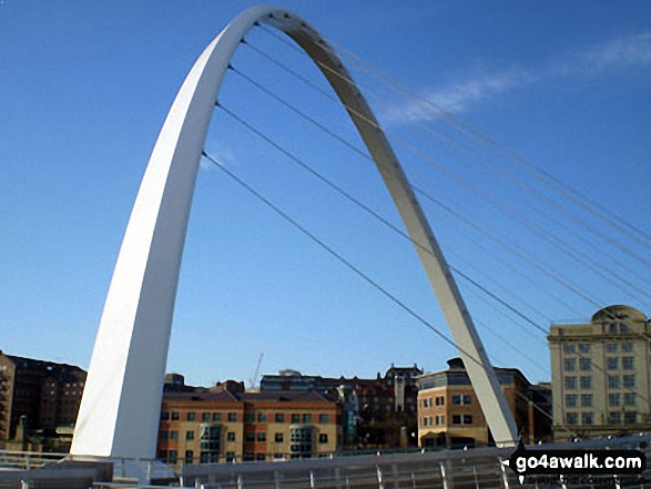 The Millennium Bridge over the River Tyne between Gateshead and Newcastle
