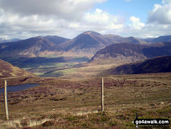Whiteside, Hopegill Head, Grasmoor (centre) and Mellbreak (mid ground) from Blake Fell