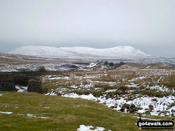 Ingleborough covered in snow from Blea Moor Tunnel