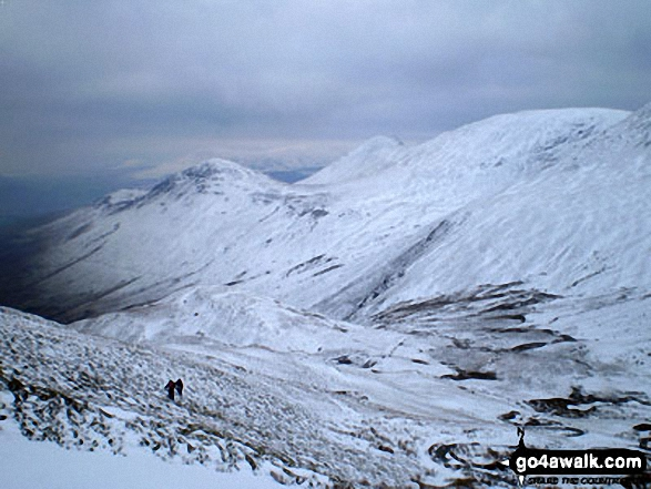 Snow on Barrow and Outerside from Coledale Hause. Walk route map c408 Grisedale Pike and Causey Pike from Braithwaite photo