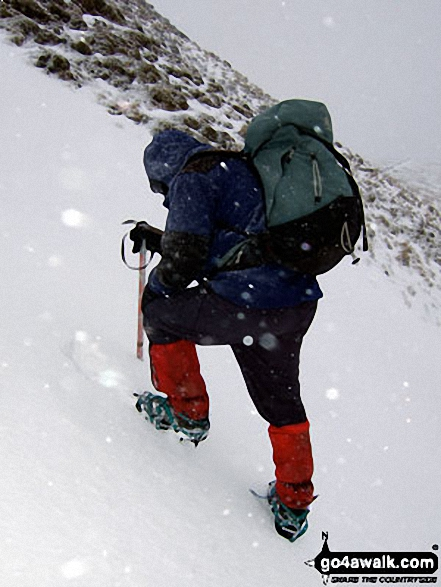 Practising my ice-axe and crampons technique in the snow on Whernside