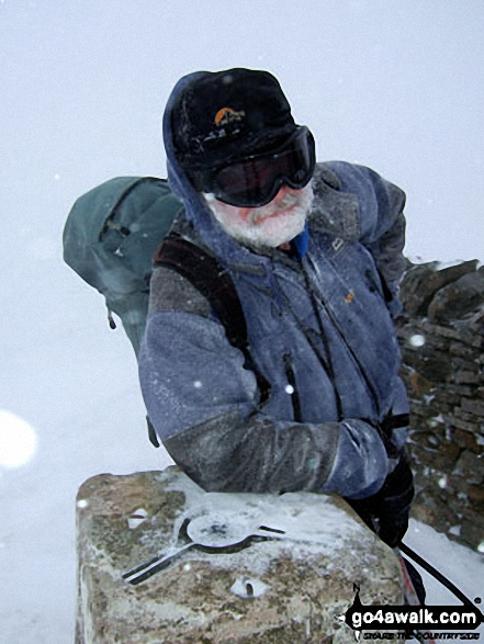 On the summit of Whernside in the snow