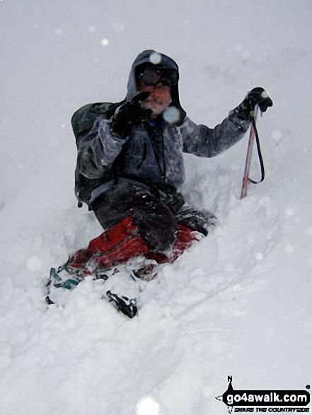 Practising my ice-axe arrest technique Whernside in the snow
