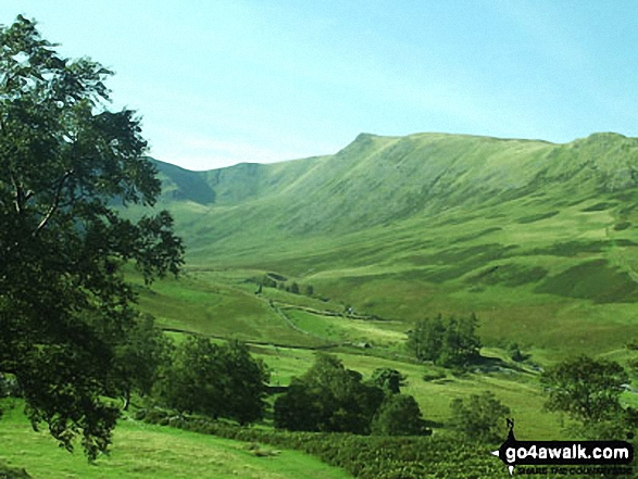 High Street (behind the tree). Straits of Riggindale, Head of Riggindale Beck and Kidsty Pike from Haweswater Reservoir