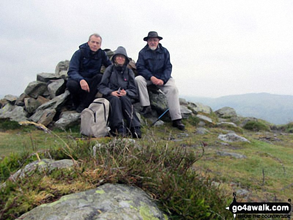 Bob, Jill & I on the summit of Beacon (Blawith Fells) this June. Walk route map c400 Beacon (Blawith Fells) and Yew Bank from Brown Howe photo