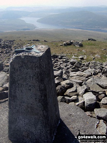 Pen Pumlumon Fawr (Plynlimon) summit trig point with Nant-y-moch Reservoir below