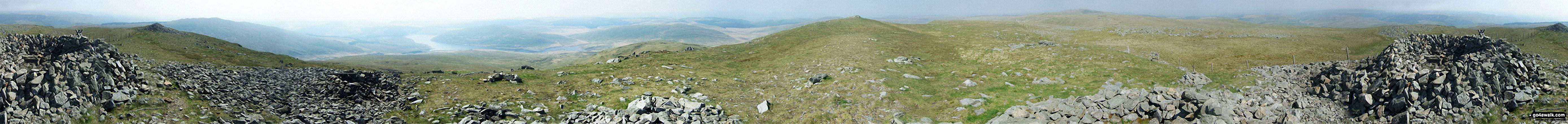 360� Panorama from the summit of Pen Pumlumon Fawr (Plynlimon) featuring: Y Garn (Pumlumon), Nant-y-moch Reservoir, Drosgol (Pumlumon), Pumlumon Fach, Pen Pumlumon Arwystli and Pen Pumlumon Llygad-bychan