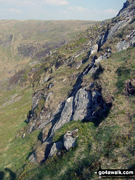 The Pumlumon Fach crags beneath Pen Pumlumon Fawr (Plynlimon)