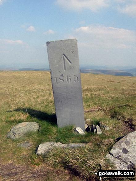 Boundary stone on Pen Pumlumon Llygad-bychan
