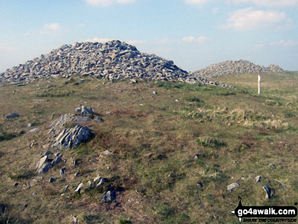 The two massive cairns on the summit of Pen Pumlumon Arwystli