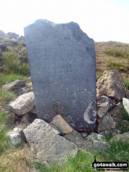 Memorial stone on Pen Pumlumon Arwystli