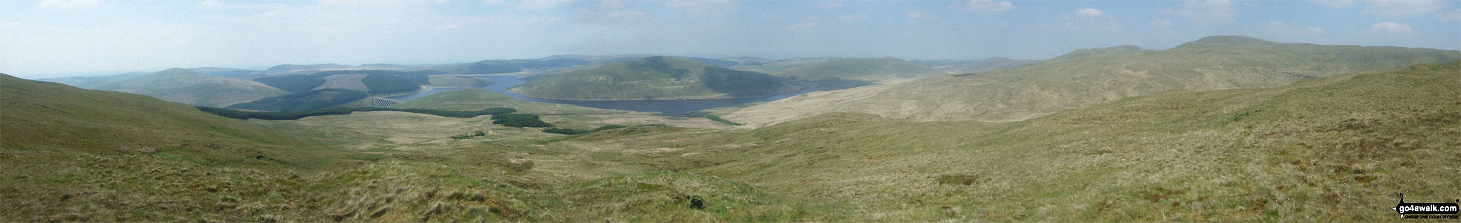 Nant-y-moch Reservoir, Drosgol (Pumlumon) and Pen Pumlumon Fawr (Plynlimon) from Y Garn (Pumlumon)