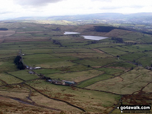 The Black Moss Reservoirs (Upper and Lower) and Pendle House from the top Pendle Hill (Beacon or Big End)