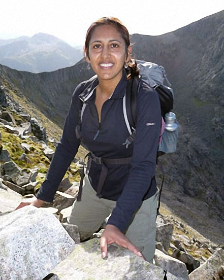 My girlfriend Jyoti on the Carn Mor Dearg Arete on the way to the summit of Ben Nevis!