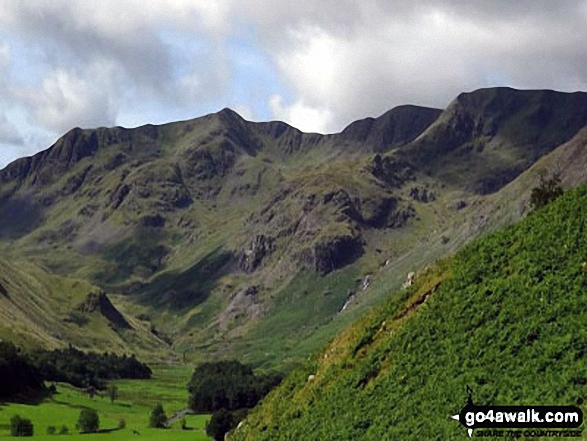 The head of the Grisedale Valley with Dollywaggon Pike to the left, High Crag, Nethermost Pike and then Helvellyn (far right) from near Brownend Plantation