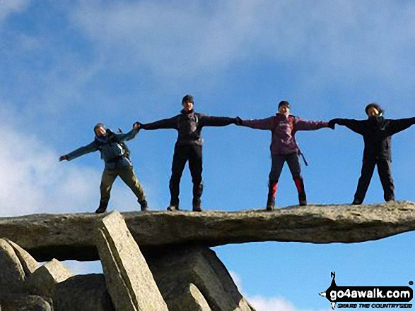 Walk gw115 Glyder Fach, Castell y Gwynt and Glyder Fawr from Ogwen Cottage, Llyn Ogwen - On the famous cantilever stone on the summit of Glyder Fach