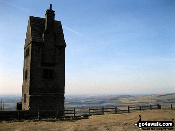 Pigeon Tower (Rivington Moor) with Rivington Reservoir in the distance. Walk route map l110 Rivington Pike from Great House Information Centre, Rivington Lane photo