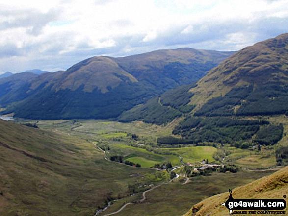 Inverlochlarig with Stob Fear-tomhais (Ceann na Baintighearna) beyond from the upper slopes of Beinn Tulaichean