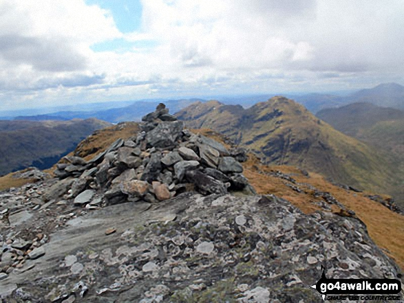 Beinn Tulaichean summit cairn with Stob a' Choin in the background