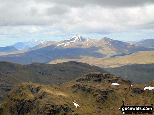 Beinn a' Chleibh, Ben Lui (Beinn Laoigh) (centre, with snow on it), Ben Oss and Beinn Dubhchraig from the summit of Beinn Tulaichean