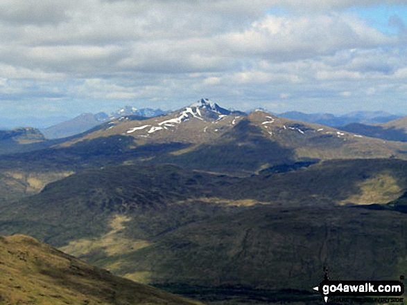 Beinn a' Chleibh, Ben Lui (Beinn Laoigh) (snowy peak in the middle), Ben Oss and Beinn Dubhchraig from the summit of Cruach Ardrain