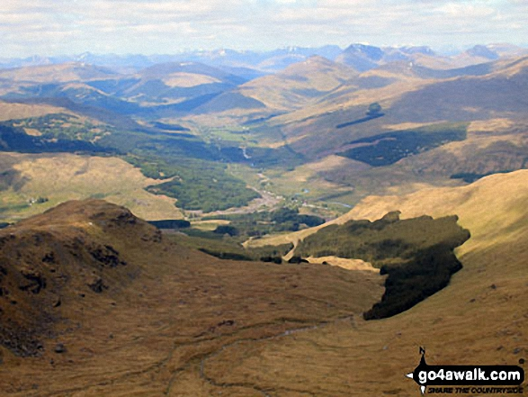 Crianlarich from the summit of Cruach Ardrain