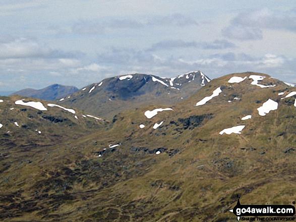 Stob nan Clach (centre) and Creag Mhor beyond Beinn Cheathaich (right) from the summit of Sgiath Chuil