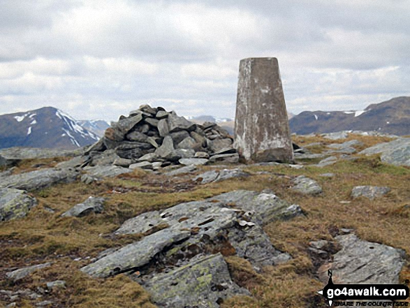 Trig point and cairn on the summit of Beinn Cheathaich
