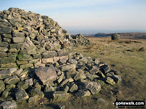 The three cairns on the summit of Two Lads (Rivington Moor). Walk route map l142 Winter Hill (Rivington Moor) and Rivington Pike from Rivington Upper Barn photo
