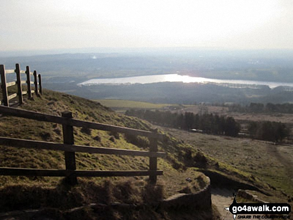 Lower Rivington Reservoir from Rivington Pike. Walk route map l110 Rivington Pike from Great House Information Centre, Rivington Lane photo