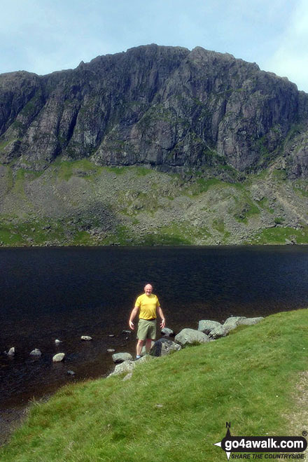 Brett at Stickle Tarn with Pavey Ark behind