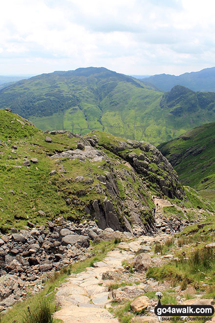 Looking back down the path up to Stickle Tarn with Lingmoor Fell in the background