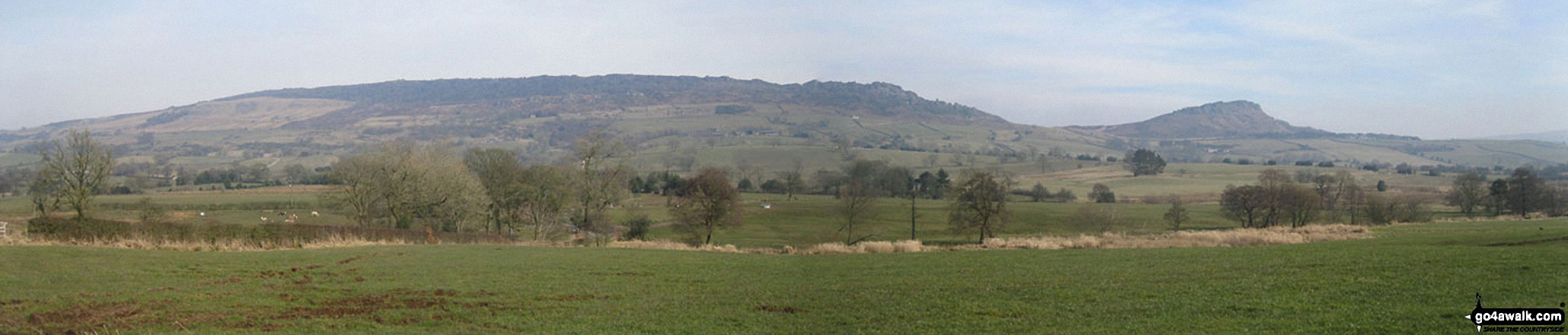 The Roaches and Hen Cloud from the lane north of Meerbrook