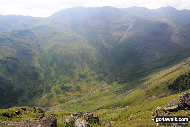Walk c225 The Langdale Pikes via Jack's Rake from The New Dungeon Ghyll, Great Langdale - Mickleden from Pike of Stickle (Pike o' Stickle)
