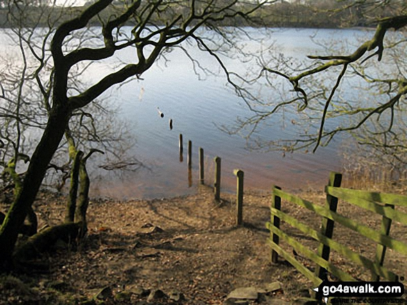 Lower Rivington Reservoir. Walk route map l110 Rivington Pike from Great House Information Centre, Rivington Lane photo