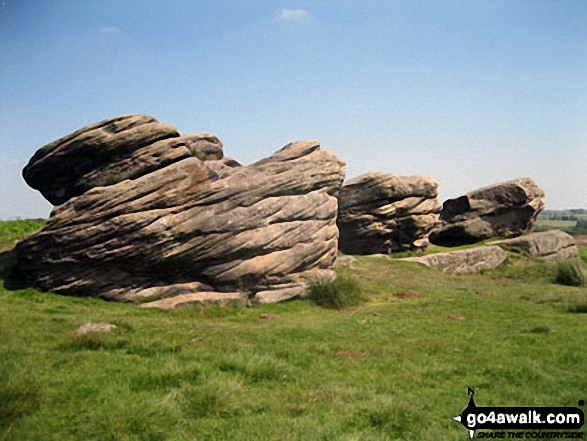 Victory (left), Defiance and Royal Soverin (right) - the three large boulders that form The Three Ships on Birchen Edge