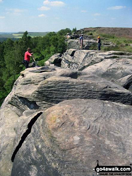 Busy day with plenty of climbers on Birchen Edge