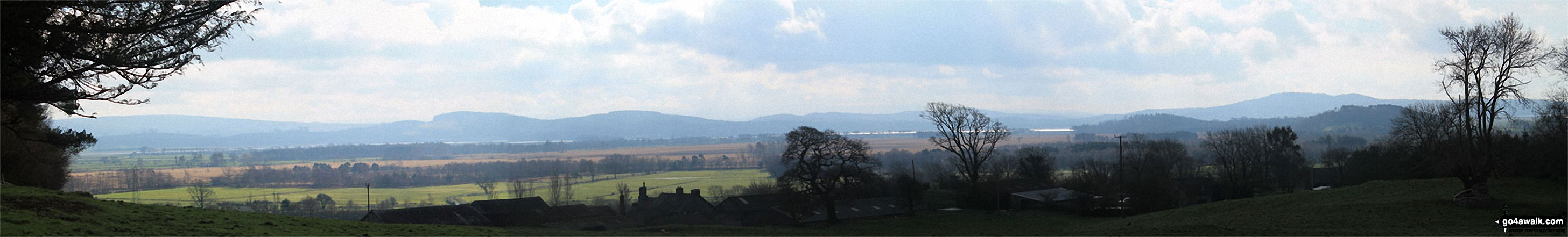 Looking South across Foulshaw Moss to Milnthorpe Sands,  Arnside Knott and The forest of Bowland from Buckhouse Wood above Mill Side