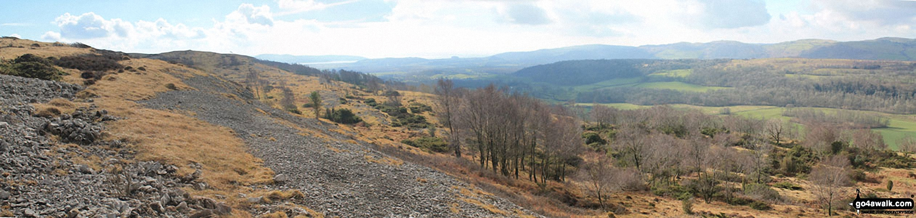 Arnside Knott, Humphrey Head, Dixon Heights (Newton Fell) and Saskills (Newton Fell) from the Whitbarrow Scar ridge