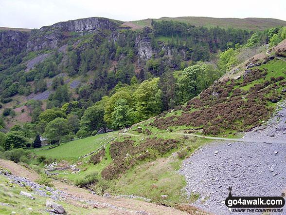 Walk po117 Cadair Berwyn and Post Gwyn from Pistyll Rhaeadr - The Pistyll Rhaeadr crags from Nant y Llyn near Tan-y-pistyll