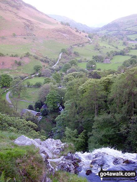 Walk po117 Cadair Berwyn and Post Gwyn from Pistyll Rhaeadr - The view from the top of Pistyll Rhaeadr