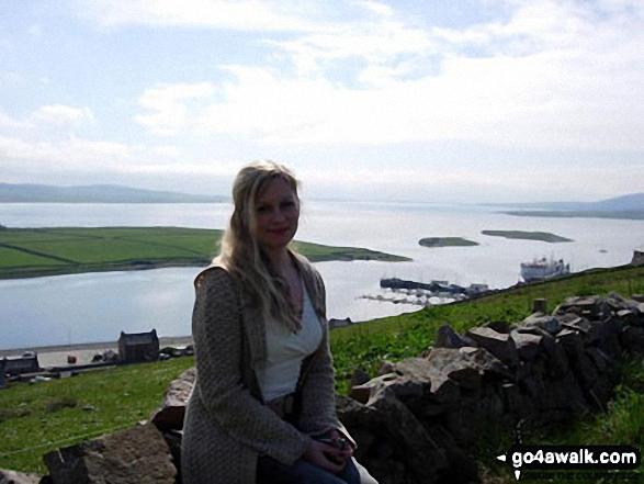 Me on top of Brinkies Brae overlooking Stromness