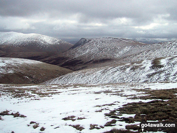 Bowscale Fell (left) and Blencathra or Saddleback with Sharp Edge clearly visible (centre) with a dusting of snow from Skiddaw (Little Man)