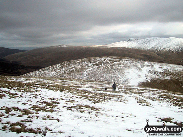Sale How (Skiddaw) in the snow from Skiddaw (Little Man)