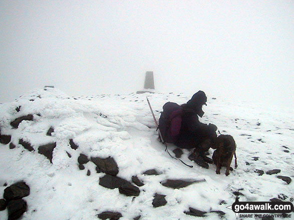 Mike & his dog on the a very cold and snowy Skiddaw