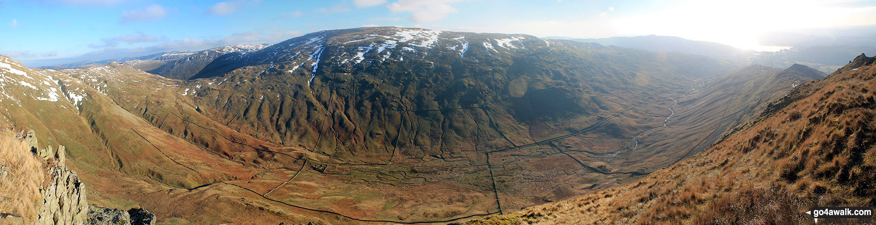 Middle Dodd, Red Screes, Snarker Pike, the Scandale Valley and Lake Windermere from High Pike (Scandale)