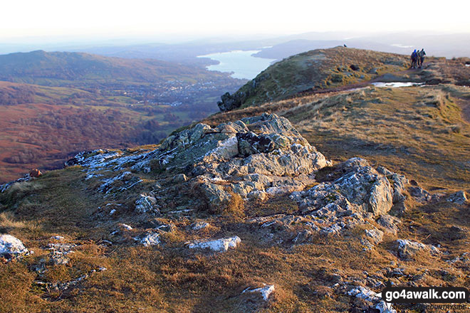 The rocky outcrop on the summit of Heron Pike on The Fairfield Horeshoe
