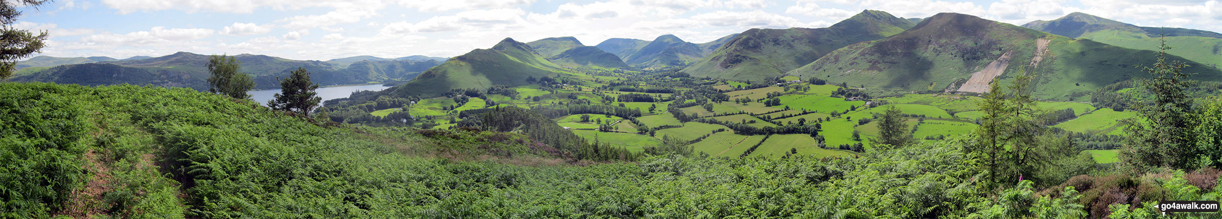 The view from the summit of Swinside (Portinscale) featuring Derwent Water, Cat Bells , Maiden Moor, High Spy, Dale Head (Newlands), Hindscarth, Robinson, Causey Pike, Sail, Crag Hill (Eel Crag), Barrow and Gridedale Pike