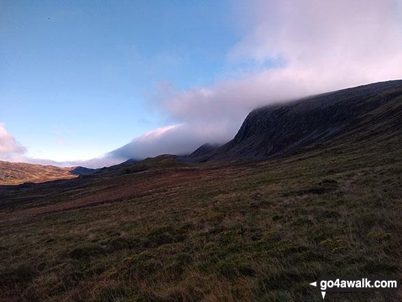 Cyfrwy (The Saddle) and Cadair Idris (Penygadair) consumed by cloud from Rhiw Gwredydd